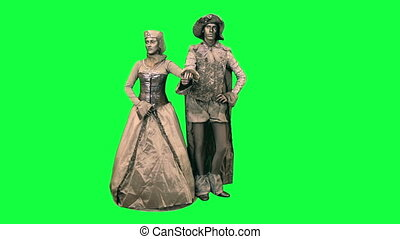Couple of living statues - Couple making a curtsy on a green...