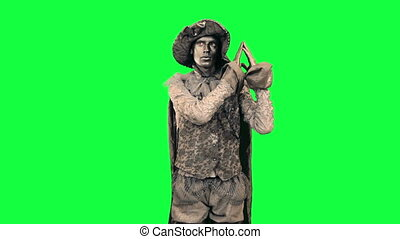 Living statue demonstrates object - Iron man indicates an...