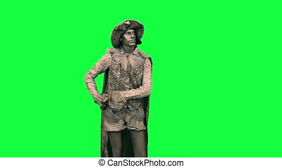 Living statue bows Chromakey - Iron man making a curtsy on a...