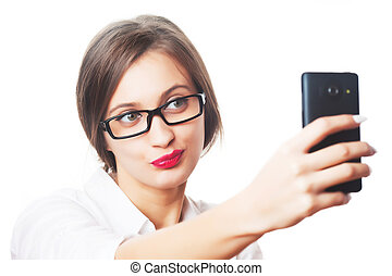 Business woman taking selfie isolated on white background