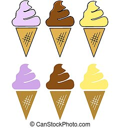 Ice cream cones - Cartoon illustration showing three...