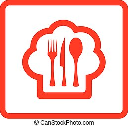 red icon for food symbol - red isolated icon for restaurant...
