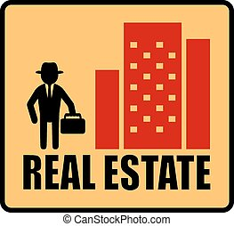 real estate symbol with man, city - red real estate symbol...