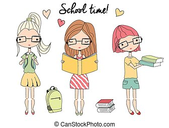 Three young school girls with glasses, school bag, books