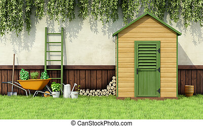 Garden shed - Garden with gardening tools and wooden shed...