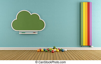 Child room with blackboard and colorful vertical heater - 3D...