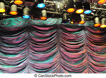 Theater stage with colored lights