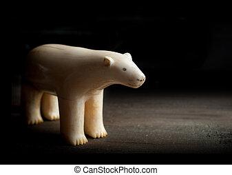 antigüidade, polar, feito, figura, urso, pretas, presa,...