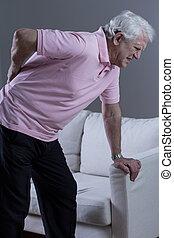 Lumbar discopathy - Senior man with painful lumbar...