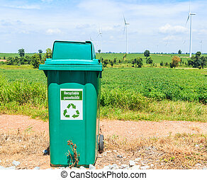 Green plastic trash recycling container ecology concept,...