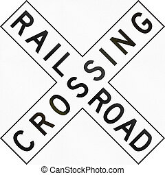 US Railroad Crossing - United States traffic sign: Railroad...