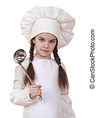 Shot of a little kitchen little girl in a white uniform