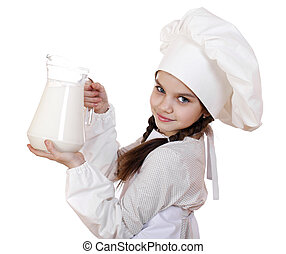 Cooking and people concept - Little girl in a white apron...