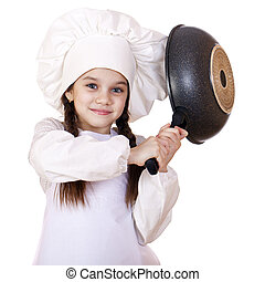 Smiling little girl in cook hat with frying pan - cooking...
