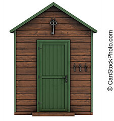 Wooden garden shed on white backgro - wooden garden shed...