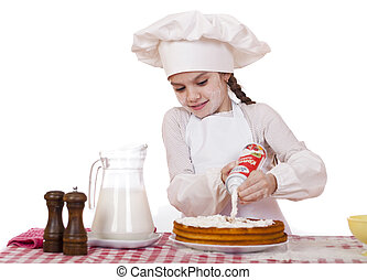 Cooking and people concept - smiling little girl in cook...