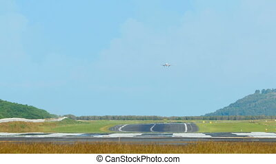 On the final - Jet airliner descending to landing at...