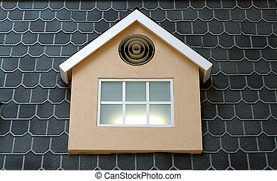 roof window - roof glass window of model faux house