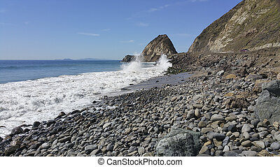 Breezy Day at Point Mugu, CA - Breezy weather smashing waves...