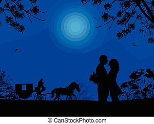 Carriage and lovers at blue night on beautiful landscape,...