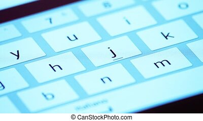 Finger touch a keyboard of tablet - Finger touching virtual...