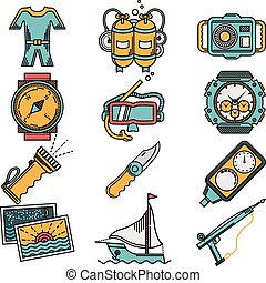 Scuba equipment flat style vector icons - Flat color design...