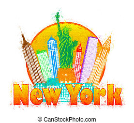 New York City Colorful Skyline in Circle Impressionist Illustrat