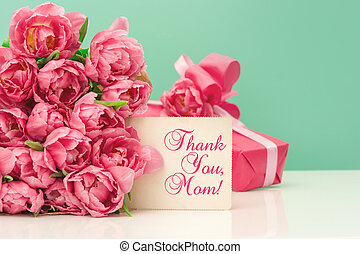 Pink tulips, gift ang greeting card with sample text Thank...