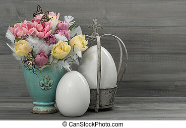 pastel tulip flowers with vintage easter eggs - pastel...