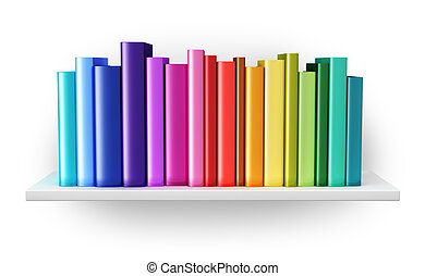 Bookshelf with color hardcover books - Creative abstract...