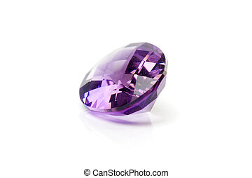 Amethyst Gem on white background .