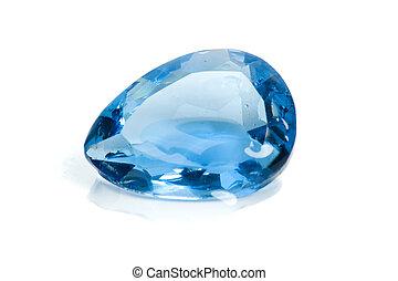 Aquamarine Gems on white background .