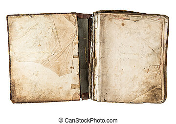 open antique book with grungy pages