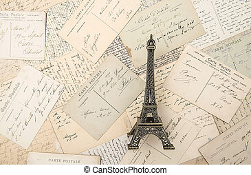 antique french postcards and souvenir Eiffel Tower landmark...