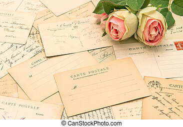 antique french postcards and rose flowers. carte postale...