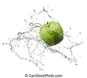 fresh apple - fresh green apple with water splash on white...