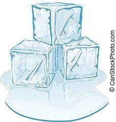 ice cube pile - Vector illustration of blue half-melted ice...