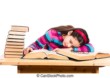 tired girl with pile of old books - tired girl sleeping on...