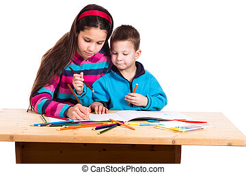 two kids drawing together