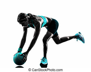 woman fitness Medicine Ball exercises silhouette - one...