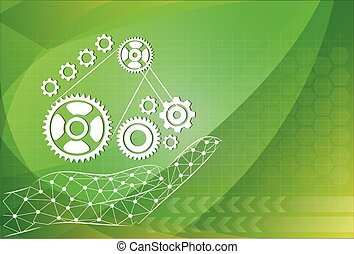 hand hold gear on background technologies, management concept.