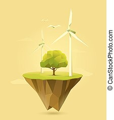 wind power - polygonal illustration of wind power