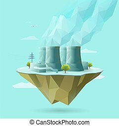 nuclear power - polygonal illustration of nuclear power
