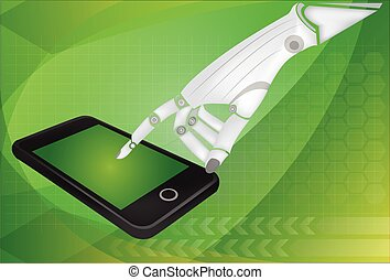 Robotic hands holding a mobile phone with blank screen...
