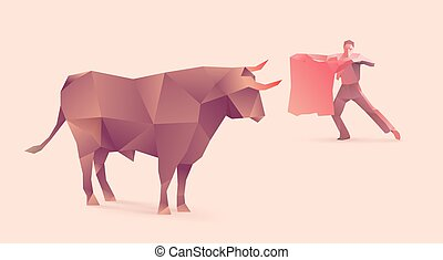 bullfights - polygonal illustration of bullfights