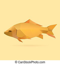 carp - polygonal illustration of carp