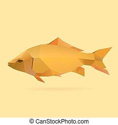 carp - polygonal illustration of carp
