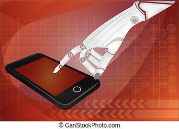 Robotic hands holding a mobile phone with blank screen. Contains