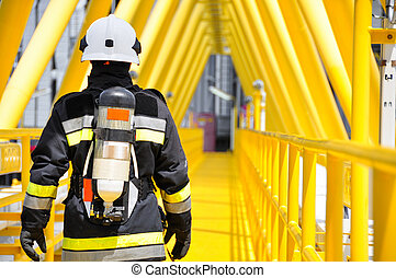 Fire fighter on oil and gas industry, successful firefighter...