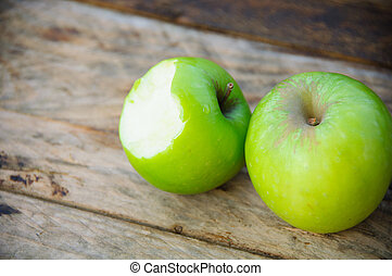 Apple on wooden background, Fruit